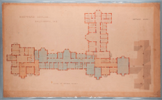 A hand drawn floorplan of a large building with three wings.