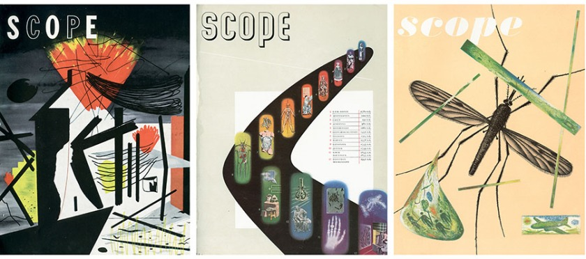 A collage of Scope magazine covers illustrating the unique design of the publication.