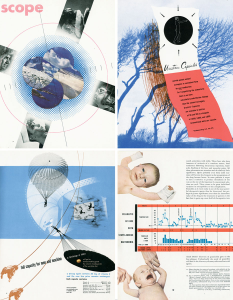 A collage of Scope magazine pages illustrating the unique design of the publication.