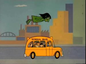 Animation still of a green woman flying over a schoolbus full of children.