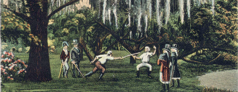 An illustration of wo men dueling with swords under Spanish moss hung oak trees.