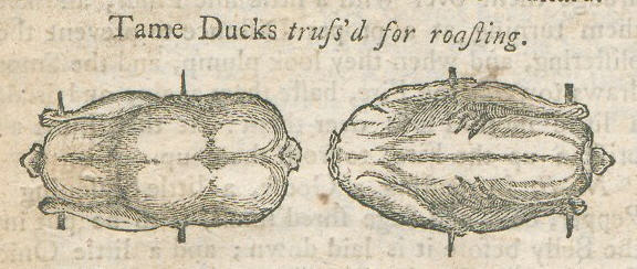 An illustration of two ducks ready to roast, one shown breast side up, the other back side up..