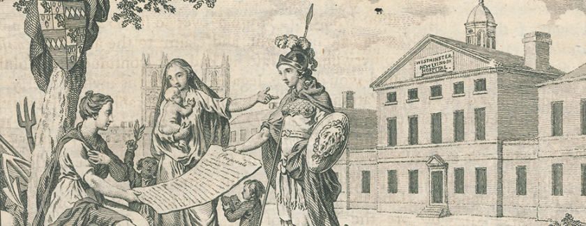 The symbolic figures of Britannia, Minerva, and Charity look at a document outside a large building.