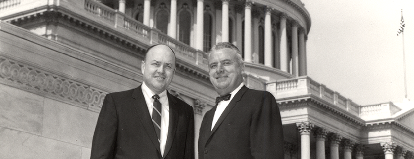 John E. Fogarty with Melvin Laird on the U.S. Capitol steps. ca. 1960.