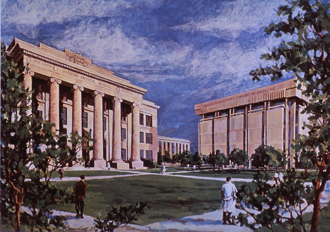 A color illustration of the courtyard between two large buildings.