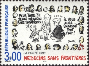 1998 French stamp for Medecines Sans Frontieres featuring cartoon illustrations of men, women, and children.