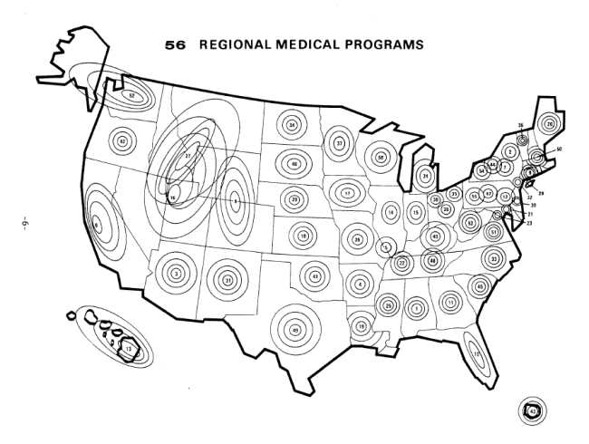 A Map of the United States annotated with concentric circles denoting designated regions.