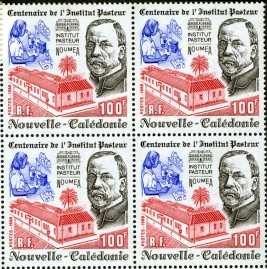 1988 stamp from New Caledonia featuring a headshot of Louis Pasteur and picture of the Institut Pasteur.