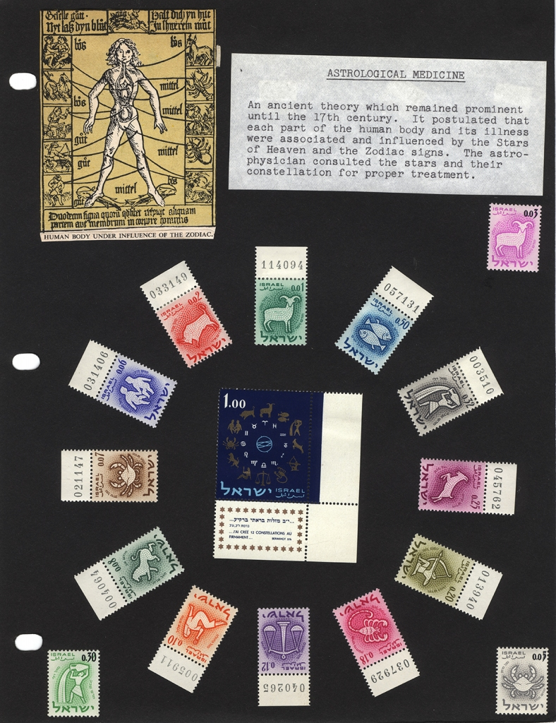A page of stamps featuring Astrological Medicine from the collection of Adolf Schwartz.