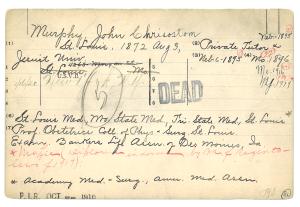 A handwitten card stamped DEAD