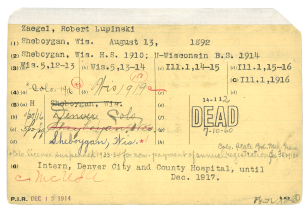 A typed and handwitten card stamped DEAD