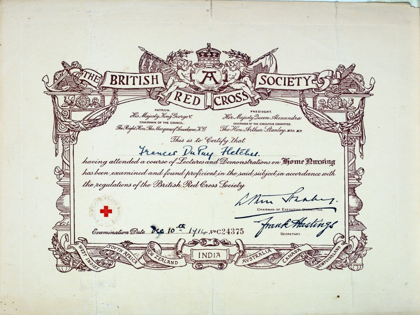 A certificate made out to Frances DuPuy Fletcher on December 10, 1914.