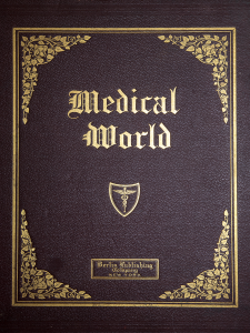 The gold tooled cover of the book Medical World.