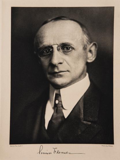 Portrait and signature of Simon Flexner.