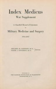 Title page for the Index Medicus War Supplement