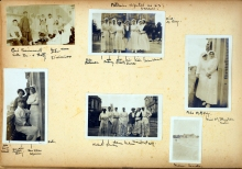 A page of 6 photographs of nurses and solders and a building.