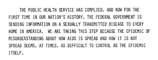 A quote from Koop's remarks presented at the press conference on the AIDS brochure and the national mailing, 1988.