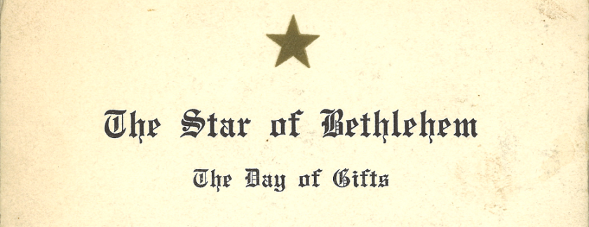 The title of A printed poem with a gold foil star at the top.