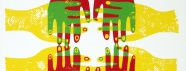 Four sets of hands overlap from each side of the poster-- left, right, up and down. The hands are a multicolor combination of red, green, and yellow.