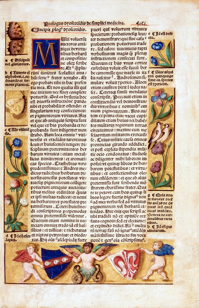 text block surrounded by flowers, butterflies, birds, and cherubs holding coats of arms.