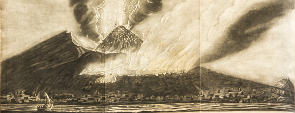 A plate from the Journal Philosophical Transactions illustrating the Eruption of Mount Vesuvius in 1767.