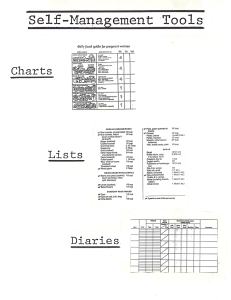 Paper with taped on illustrations of Charts, Lists, and Diaries.