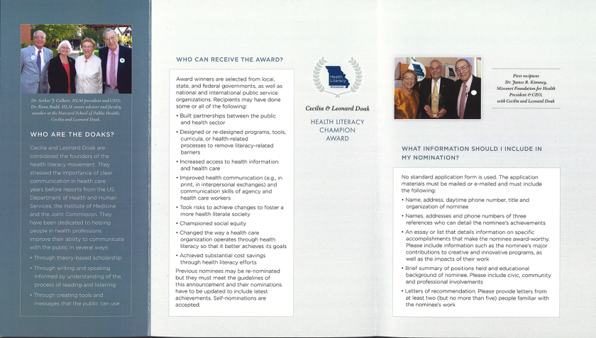 A brochure about the Cecilia and Leonard Doak Health Literacy Champion Award