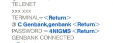 Detail of instructions for connecting to GenBank via Telenet.