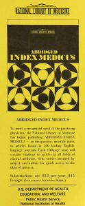 A brochure advertising the Abridged index medicus service.