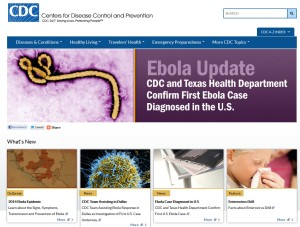 Archived CDC homepage running 4 features on Ebola and one on Enterovirius D68.