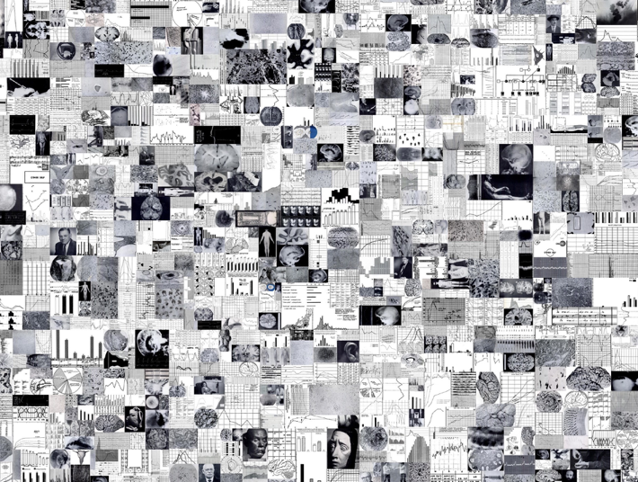 A mosaic of some of 3,000 images automatically extracted from journal article published in the American Journal of Psychiatry between 1910 and 1970 Courtesy Miriam Posner