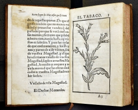 A book open to a section on Tobacco with an illustration of the plant.