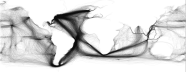 A visualization sf shipping routes plotted on a world map with large swathes of missing data.