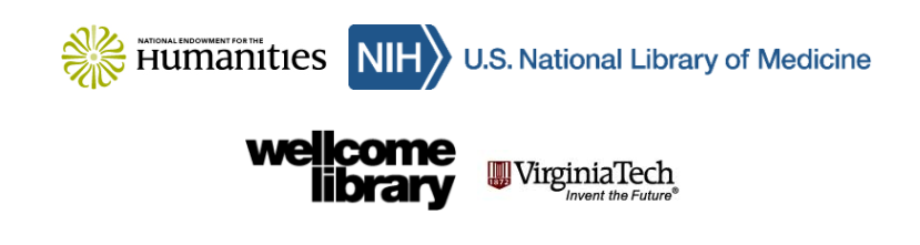 Logos for National Endowment for the Humanities, U.S. National Library of Medicine, Wellcome Library, Virginia Tech: Invent the Future