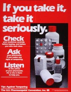 A poster encouraging vigilance against drug tampering.