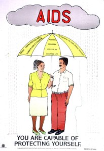 A man and woman holding an umbrella that protects them from the rain falling from a cloud labeled AIDS.
