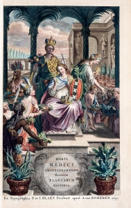 A seated woman with a crown on her lap is surrounded by people from many parts of the world bringing her baskets of plants.