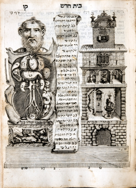 An illustration comparing the dissected torso of a bearded man with an elevation of a building, cutaway to show the interior; a scroll in Hebrew is rolled out between them.