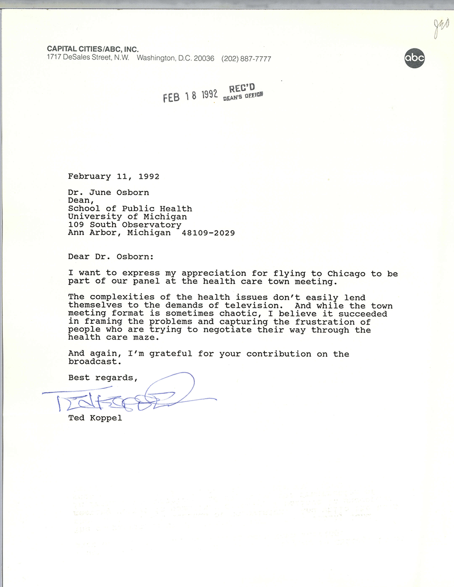 Ted koppal thanks osborne for appearing on a broadcast 1992 a letter to june osborn thanking her for participating in a broadcast spiritdancerdesigns Gallery