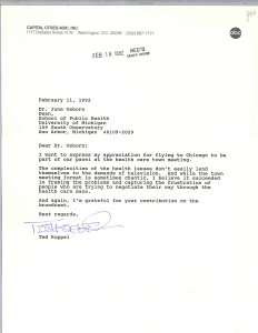 A letter to June Osborn thanking her for participating in a broadcast.