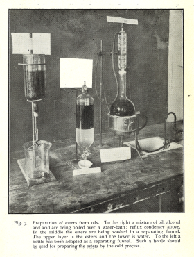 A photograph of chemical apparatus demonstrating how to extract esters from the oils of the seeds of the hydnocarpus trees.