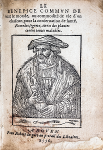 Under the title of the book a woodcut of a bearded man in a flat hat and furred robes holding a branch.