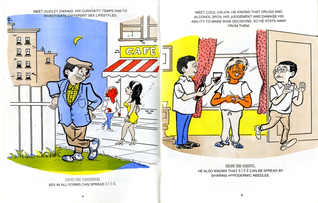 Two cartoons show a man looking longingly at other people on the street and a another man walking out the door away from people offering him wine and a hyodermic syringe.