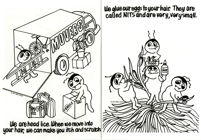 Two illustrations show cartoon lice moving things into a moving van and gluing eggs to strands of hair.
