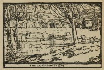 Woodcut of a compound of low buildings and tents with an icy or snowy field and trees in the foreground.