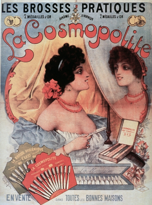 Illustration of a woman holding a toothbrush and looking at herself in a mirror. Variously shaped boxes of toothbrushes appear nearby