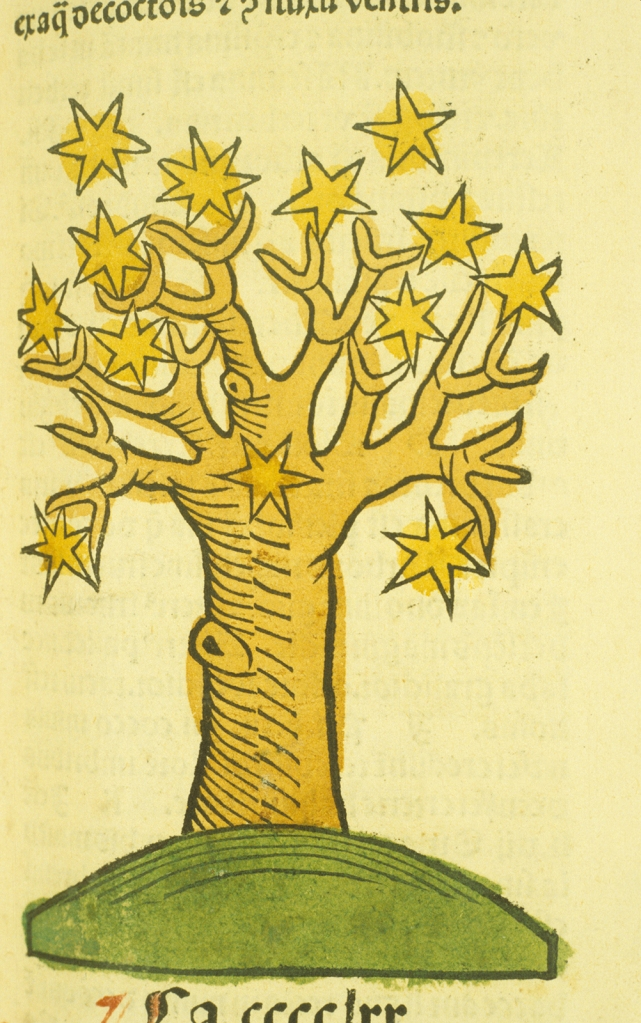Illustration of a golden tree with stars as leaves.