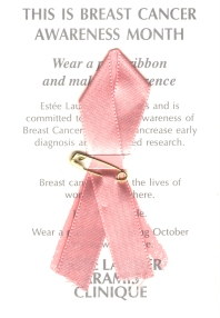 Postcard with text about breast cancer awareness month and a pink ribbon.