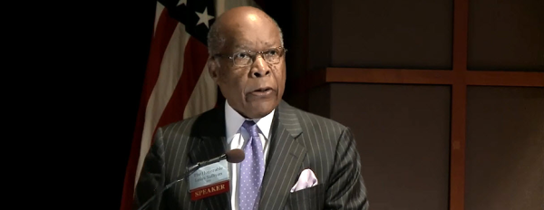 Dr. Louis Sullivan speaking at NIH.