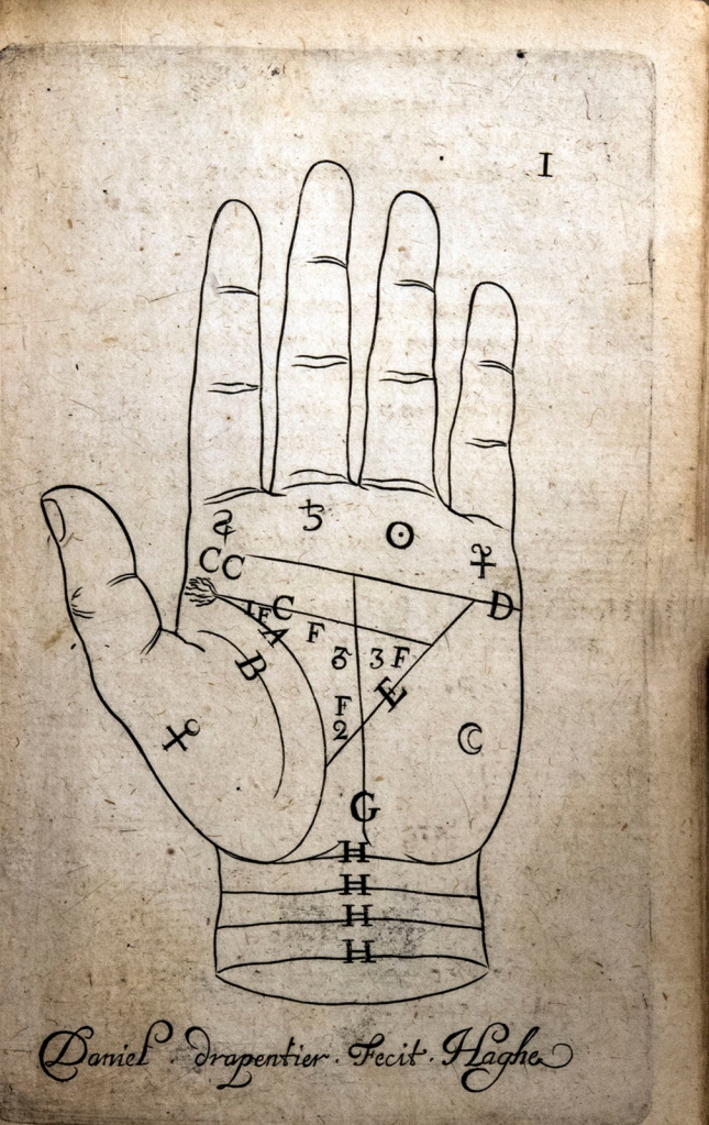 A realistic line drawing of the palm of a left hand marked with lines, numbers and symbols.